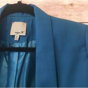 Aryn K Open Front Blazer in Teal